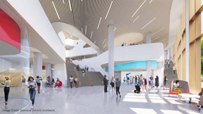 An artist's concept drawing of the Bratty Family Atrium in the Markham Centre Campus.
